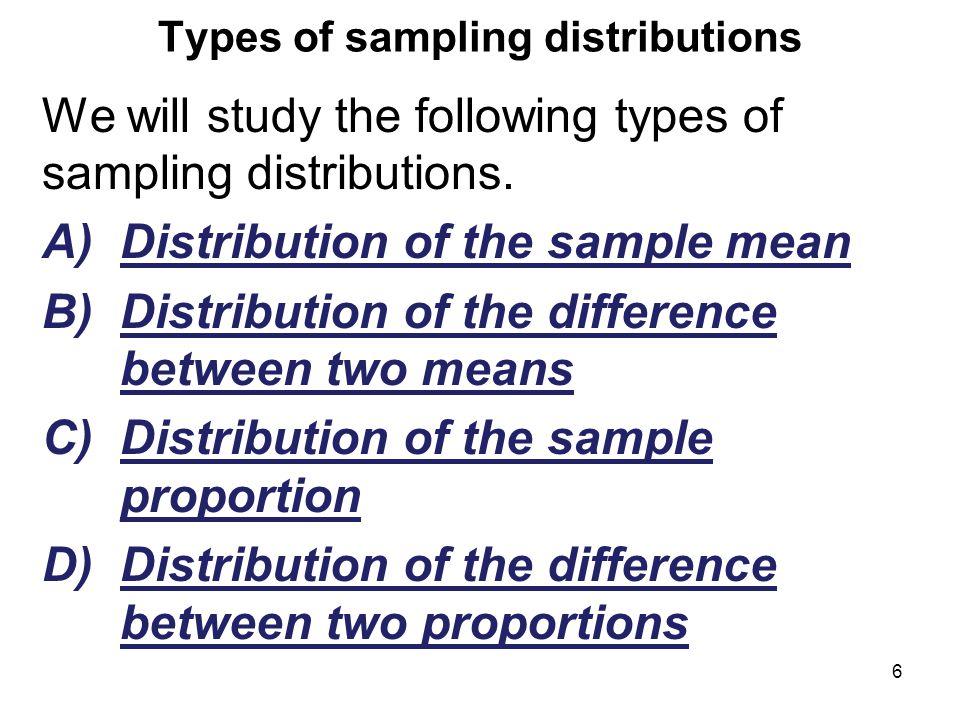 Types of sampling distributions