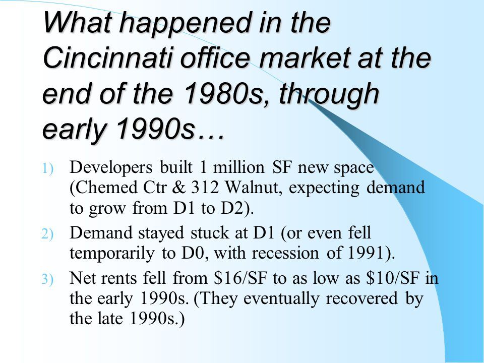 What happened in the Cincinnati office market at the end of the 1980s, through early 1990s…