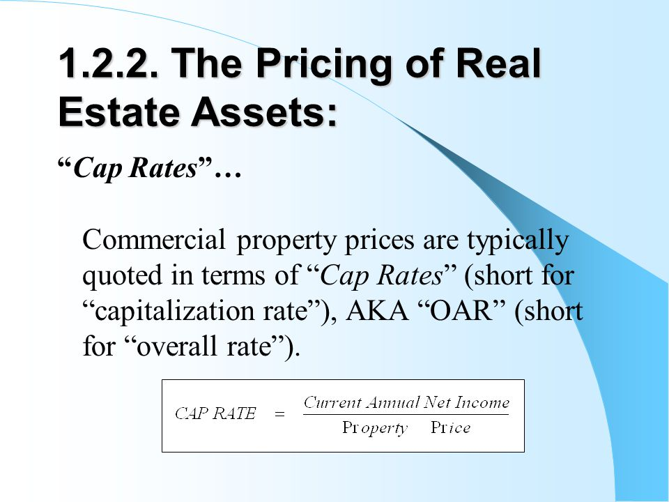 1.2.2. The Pricing of Real Estate Assets: