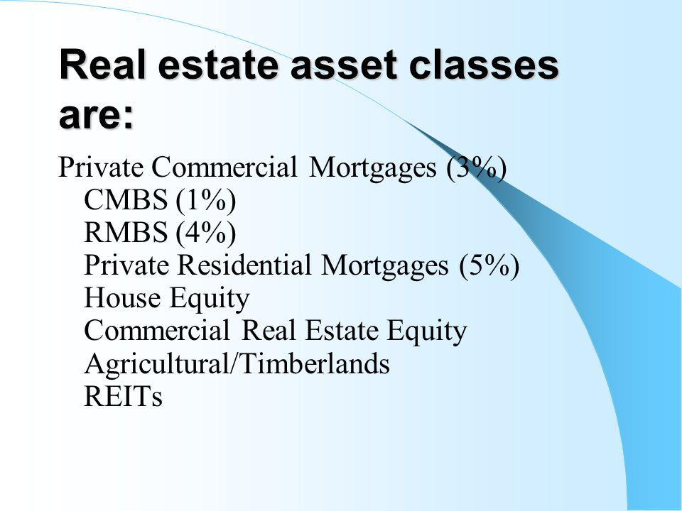 Real estate asset classes are: