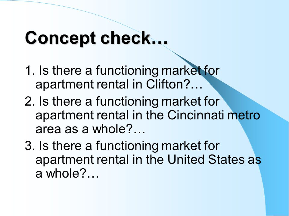 Concept check… 1. Is there a functioning market for apartment rental in Clifton …