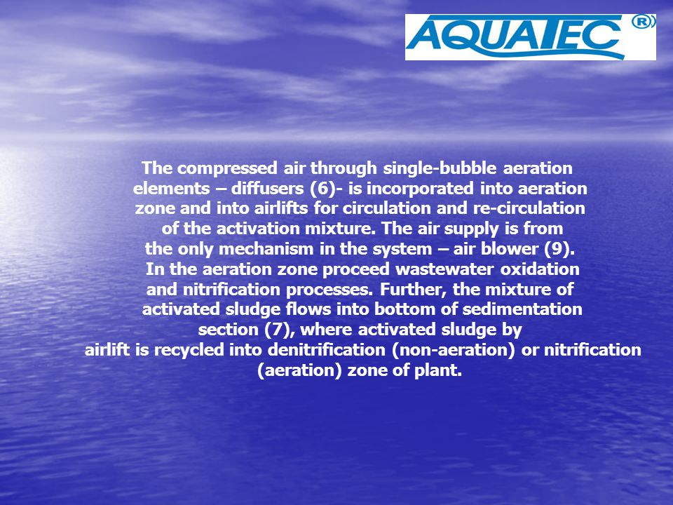 The compressed air through single-bubble aeration