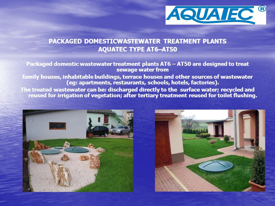 PACKAGED DOMESTICWASTEWATER TREATMENT PLANTS