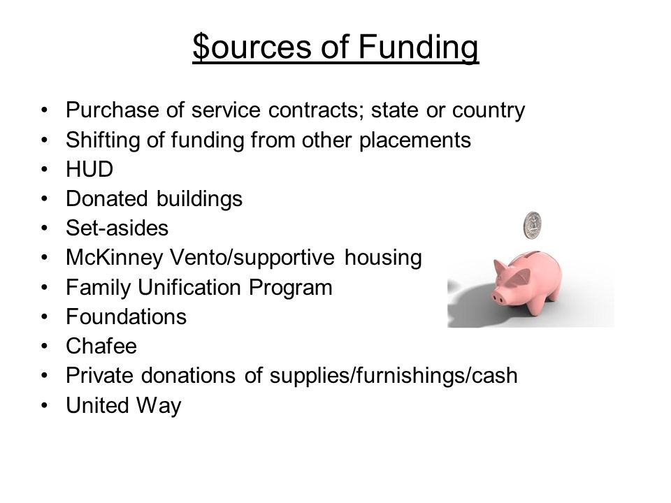 $ources of Funding Purchase of service contracts; state or country