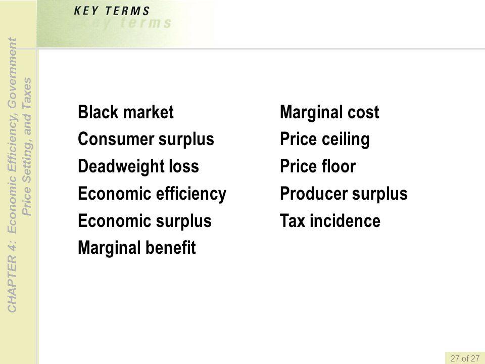 Black market Consumer surplus. Deadweight loss. Economic efficiency. Economic surplus. Marginal benefit.