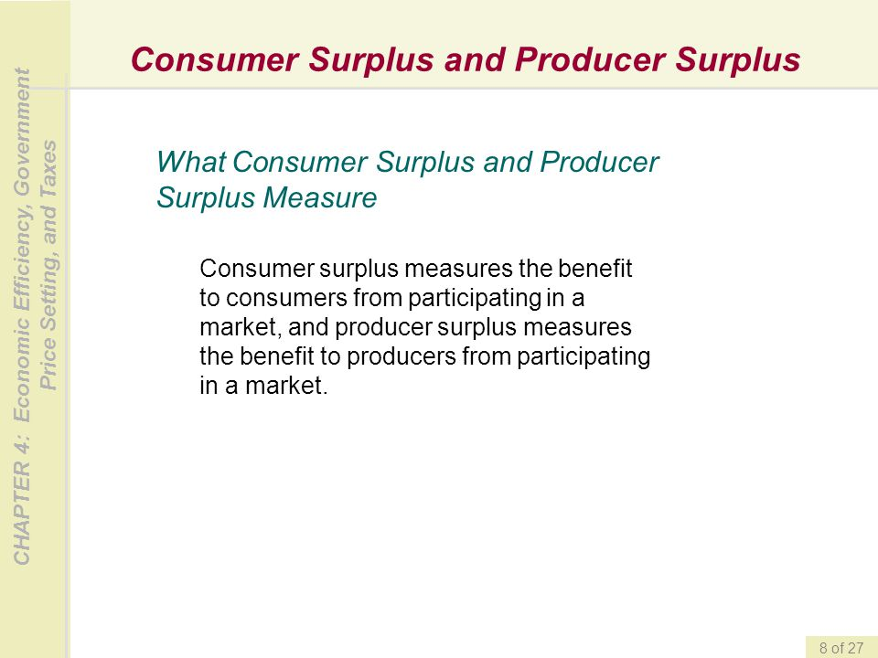Consumer Surplus and Producer Surplus