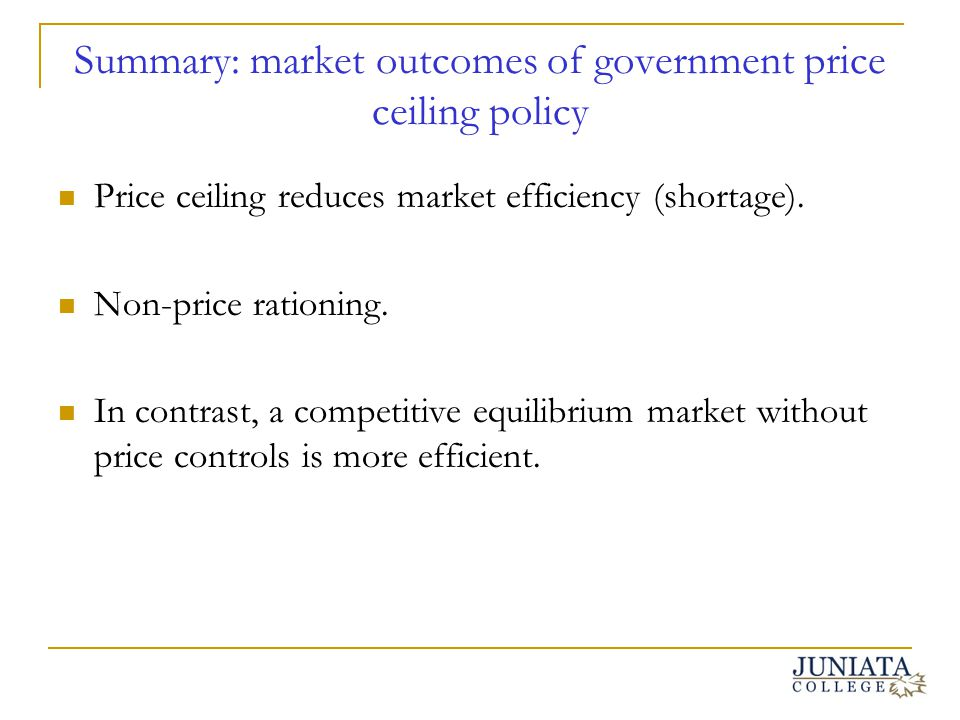 Summary: market outcomes of government price ceiling policy