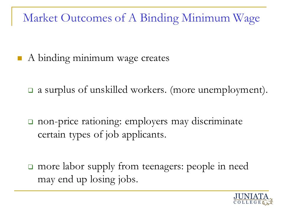Market Outcomes of A Binding Minimum Wage