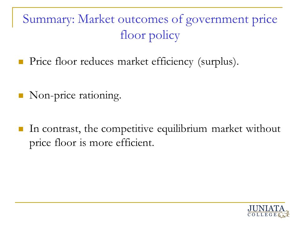 Summary: Market outcomes of government price floor policy