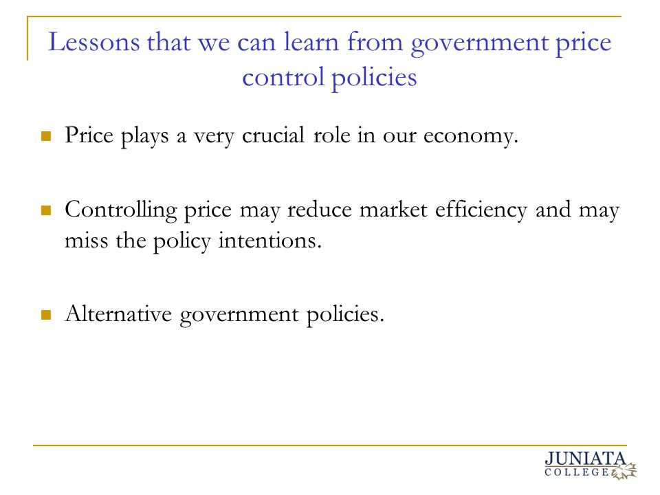 Lessons that we can learn from government price control policies