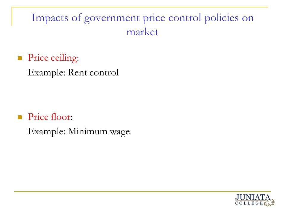 Impacts of government price control policies on market