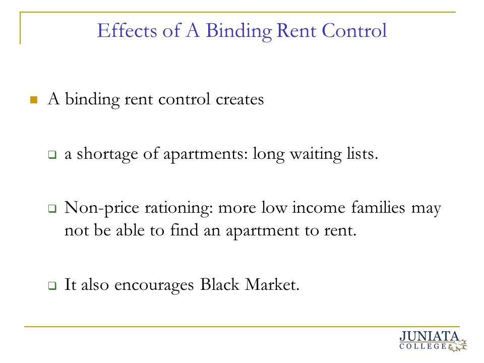 Effects of A Binding Rent Control