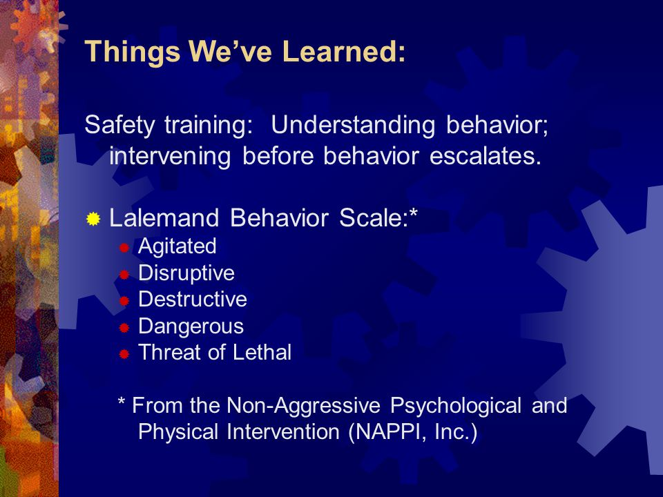 Things We've Learned: Safety training: Understanding behavior; intervening before behavior escalates.