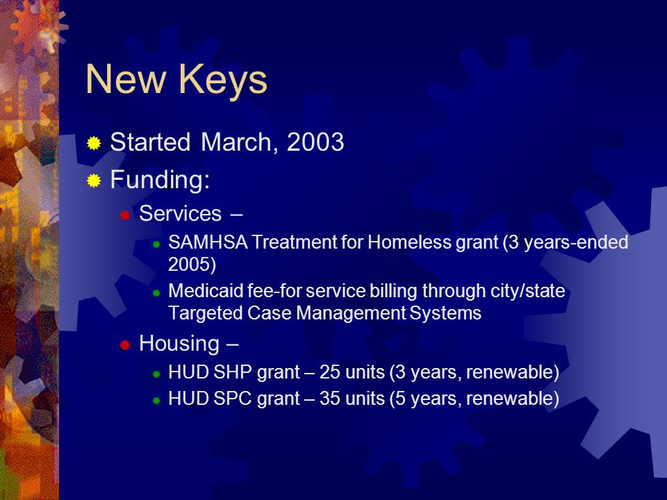 New Keys Started March, 2003 Funding: Services – Housing –