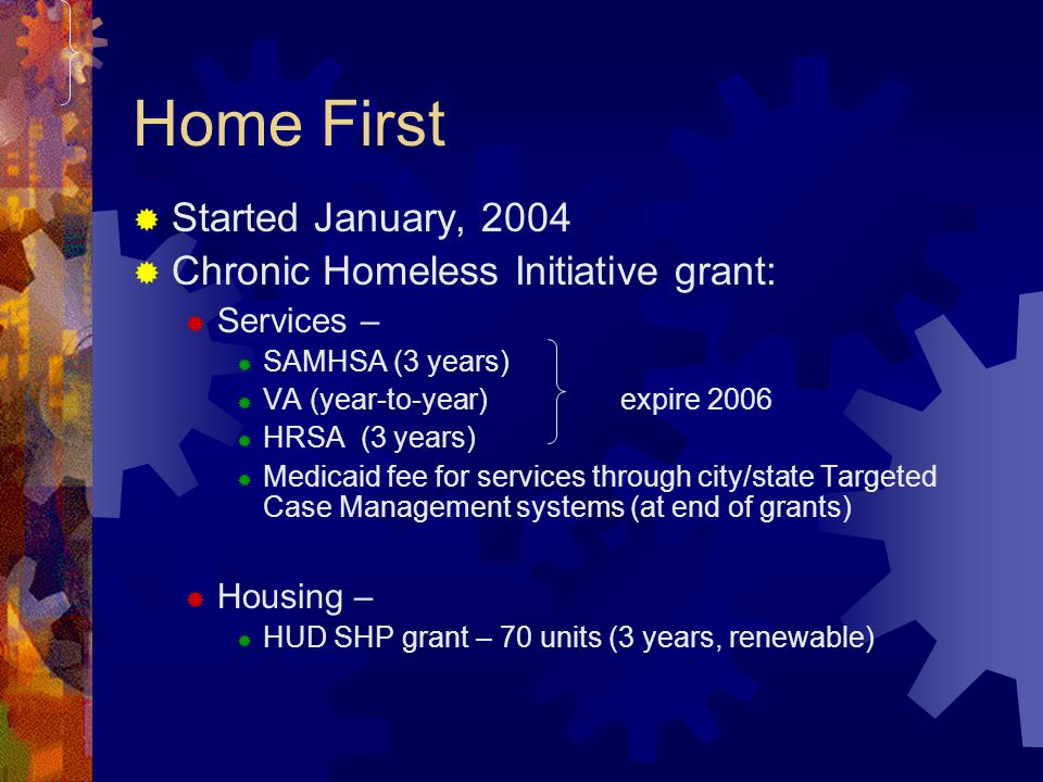 Home First Started January, 2004 Chronic Homeless Initiative grant: