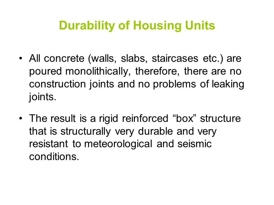 Durability of Housing Units