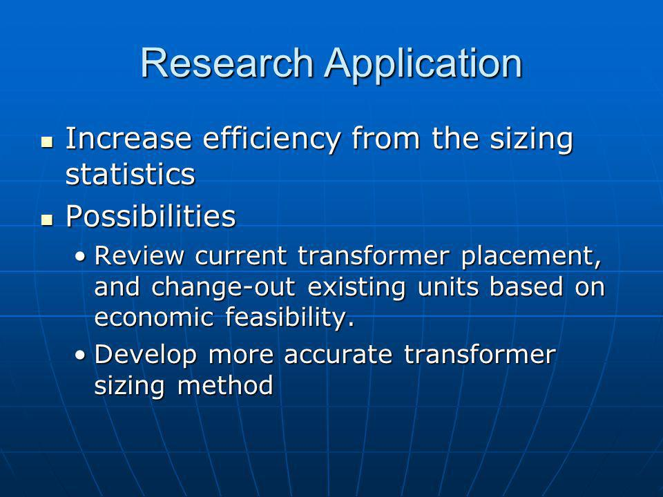 Research Application Increase efficiency from the sizing statistics