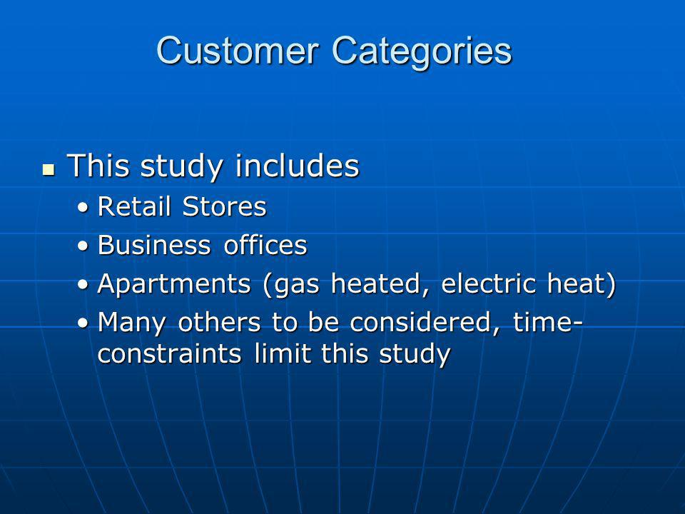 Customer Categories This study includes Retail Stores Business offices