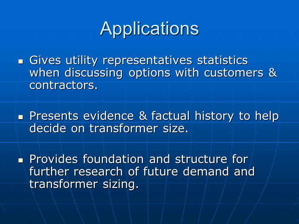 Applications Gives utility representatives statistics when discussing options with customers & contractors.