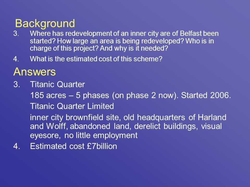 Background Answers Titanic Quarter