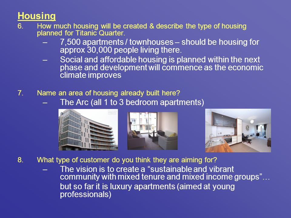 Housing How much housing will be created & describe the type of housing planned for Titanic Quarter.