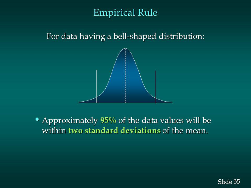 Empirical Rule For data having a bell-shaped distribution: