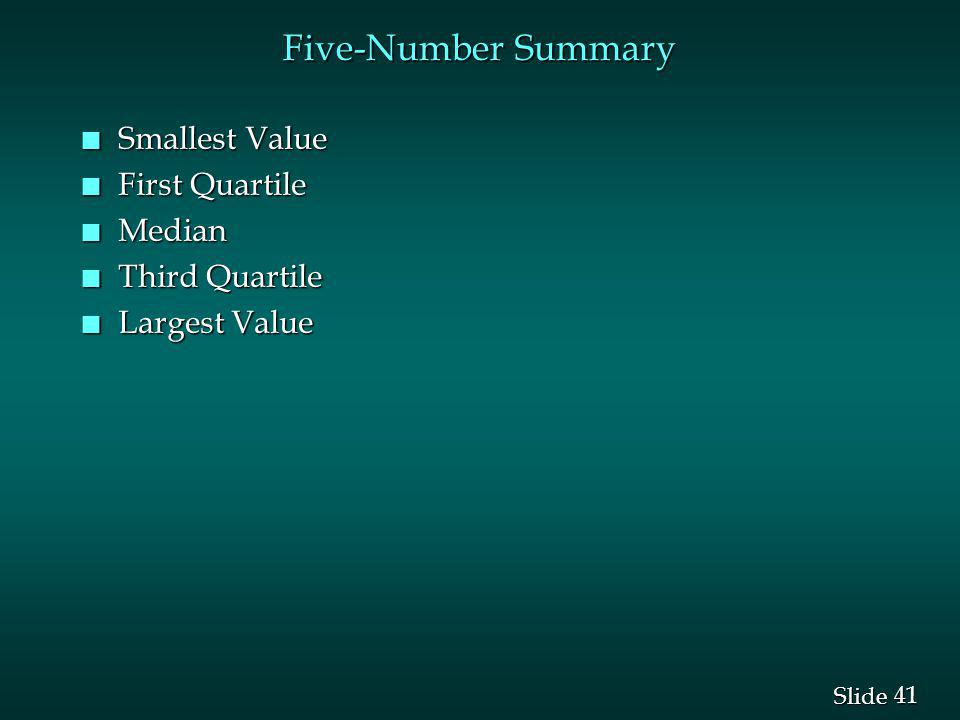 Five-Number Summary Smallest Value First Quartile Median