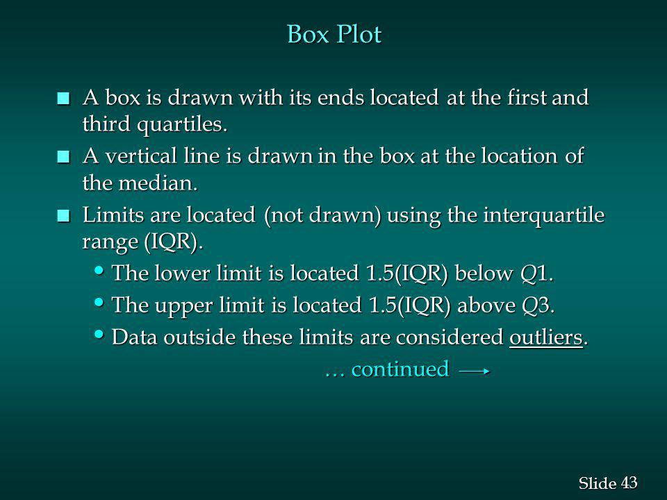 Box Plot A box is drawn with its ends located at the first and third quartiles. A vertical line is drawn in the box at the location of the median.