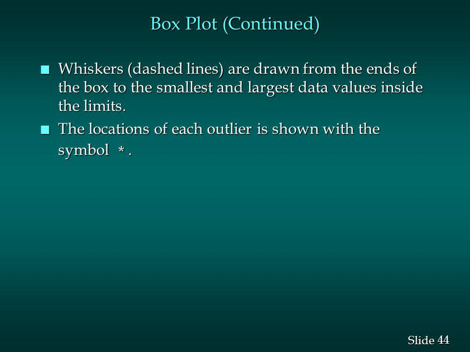 Box Plot (Continued) Whiskers (dashed lines) are drawn from the ends of the box to the smallest and largest data values inside the limits.