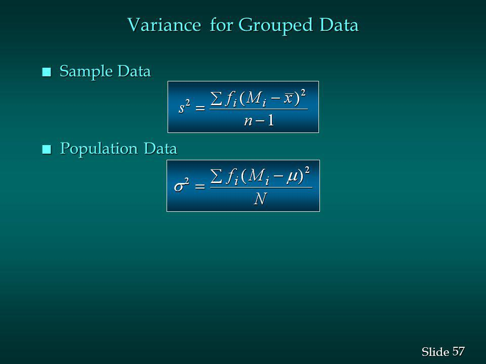 Variance for Grouped Data