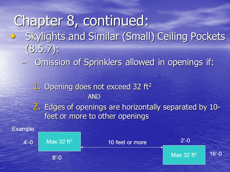 Chapter 8, continued: Skylights and Similar (Small) Ceiling Pockets (8.5.7): Omission of Sprinklers allowed in openings if: