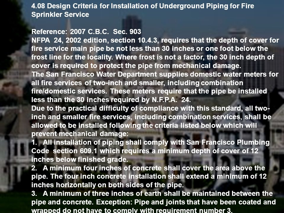4.08 Design Criteria for Installation of Underground Piping for Fire Sprinkler Service
