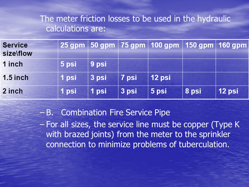 B. Combination Fire Service Pipe
