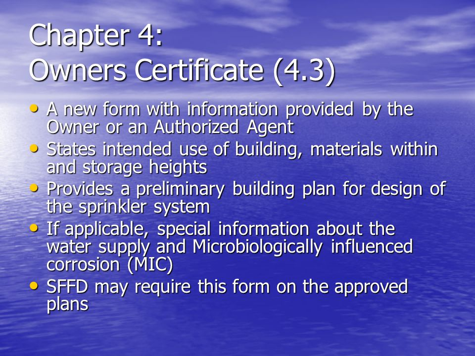 Chapter 4: Owners Certificate (4.3)