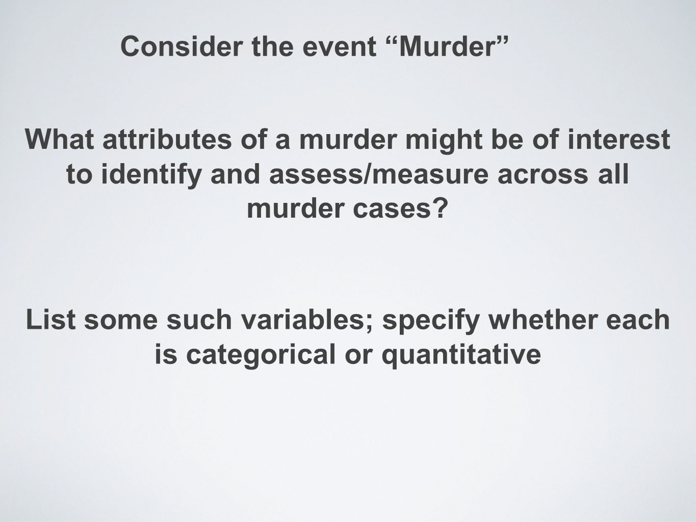 Consider the event Murder