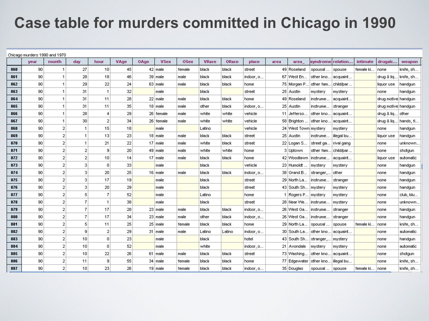 Case table for murders committed in Chicago in 1990