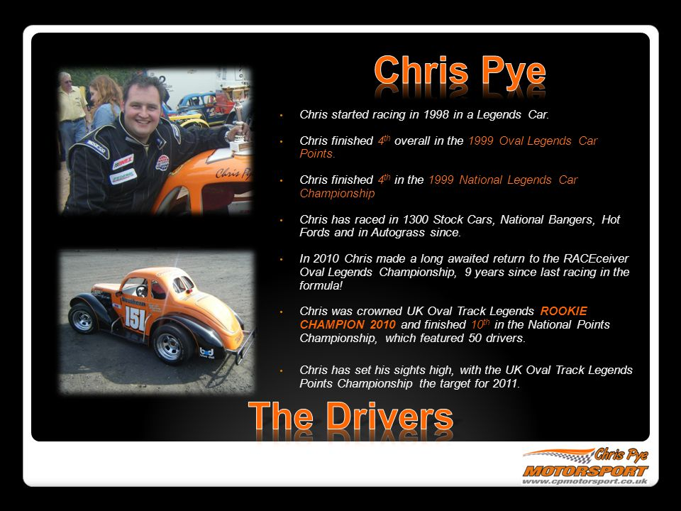 Chris Pye The Drivers Chris started racing in 1998 in a Legends Car.