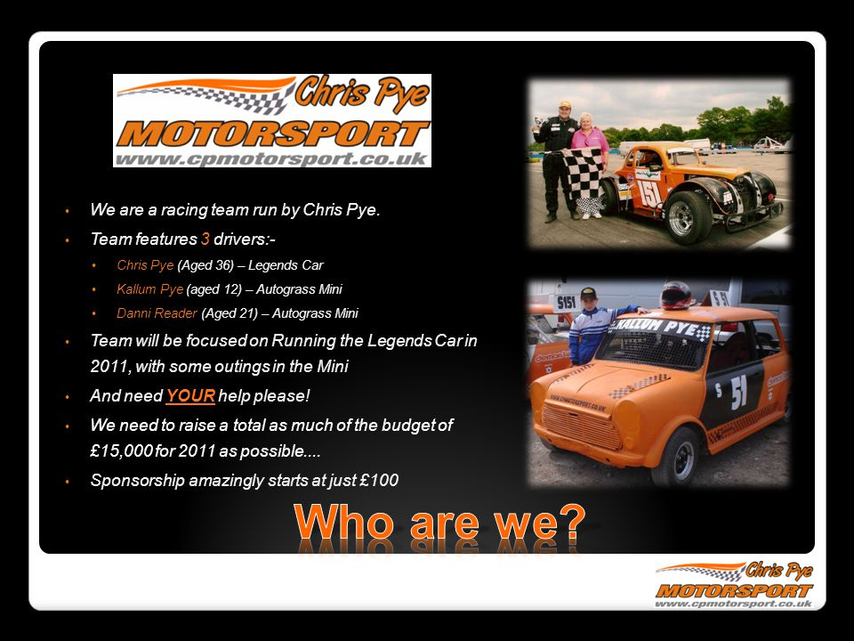 Who are we We are a racing team run by Chris Pye.