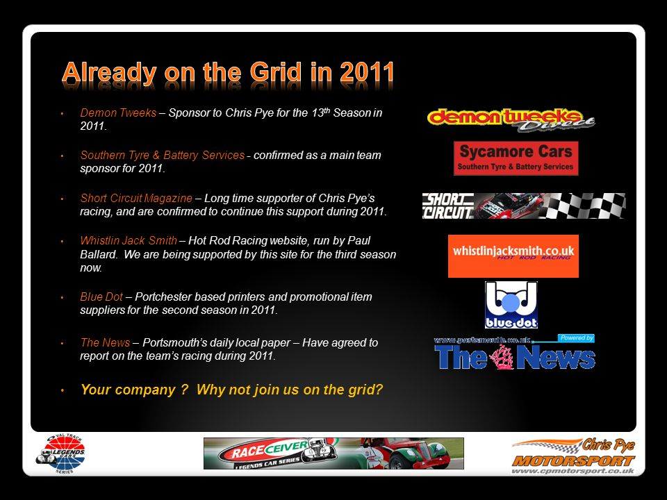 Already on the Grid in 2011 Demon Tweeks – Sponsor to Chris Pye for the 13th Season in 2011.