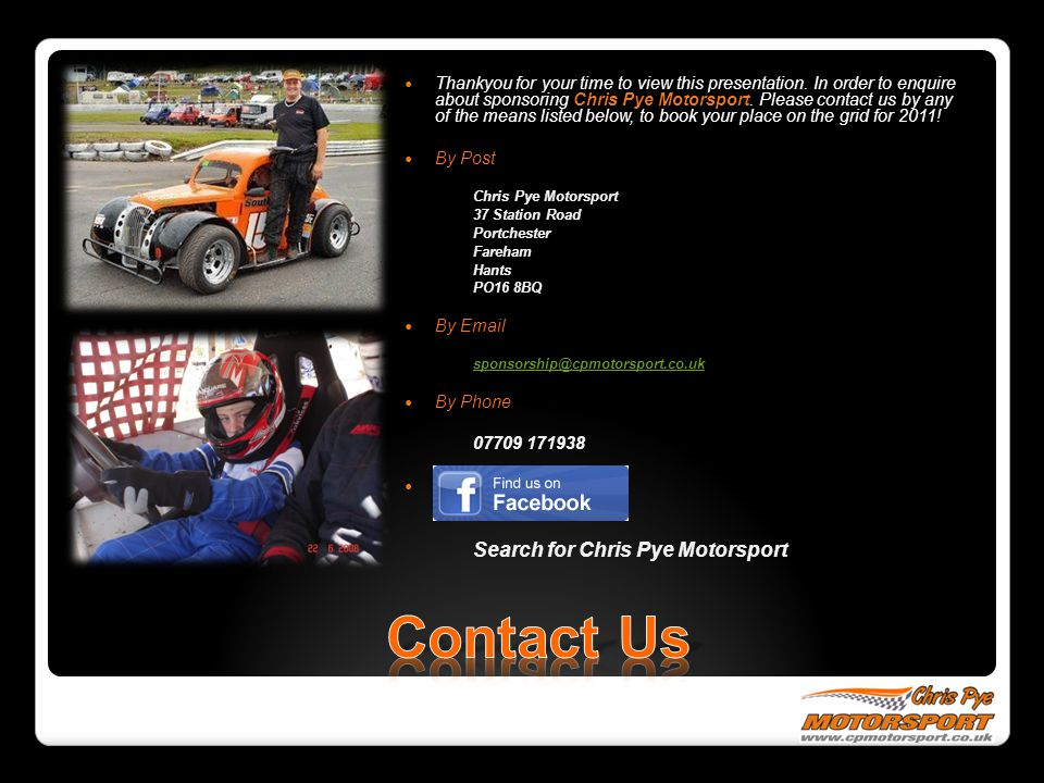 Contact Us Search for Chris Pye Motorsport