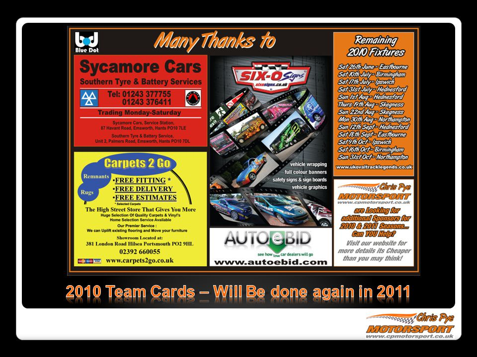 2010 Team Cards – Will Be done again in 2011