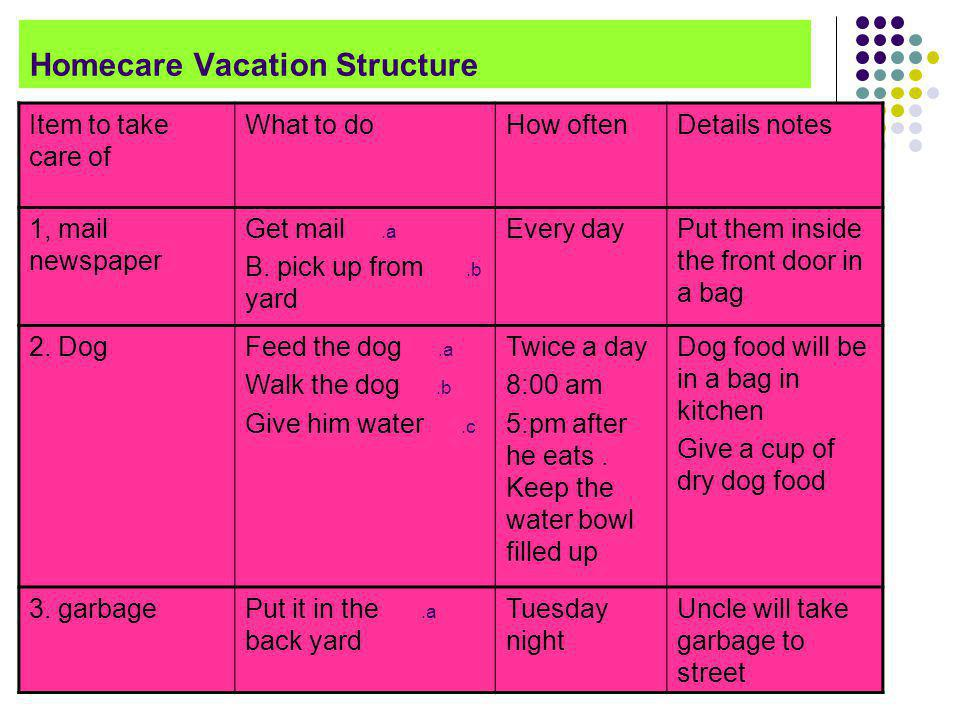 Homecare Vacation Structure