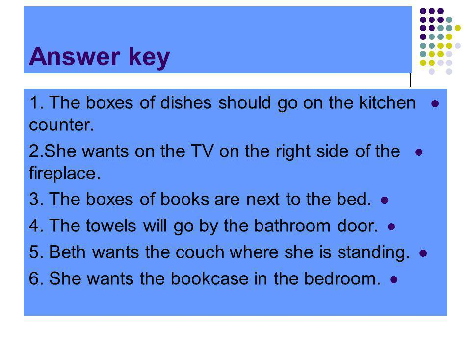 Answer key 1. The boxes of dishes should go on the kitchen counter.