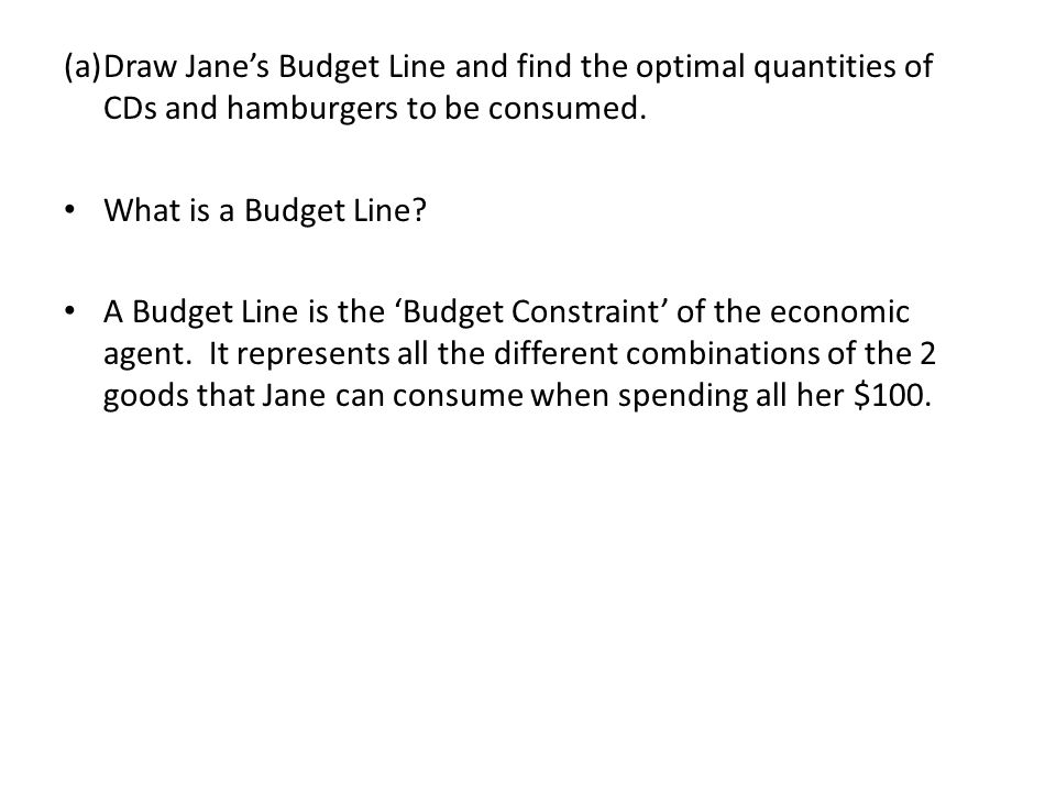 (a) Draw Jane's Budget Line and find the optimal quantities of CDs and hamburgers to be consumed.
