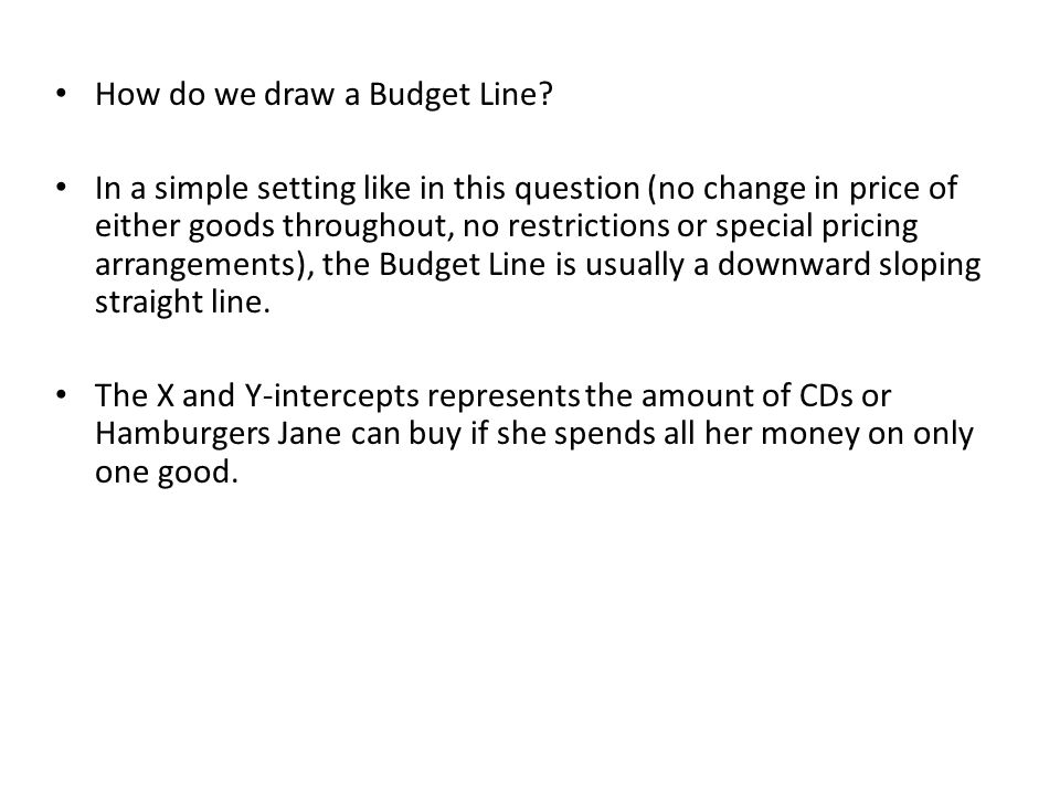 How do we draw a Budget Line