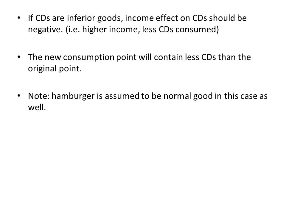 If CDs are inferior goods, income effect on CDs should be negative. (i