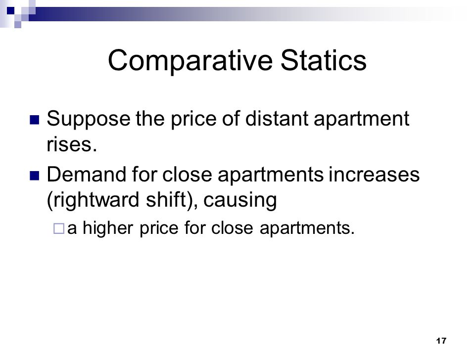 Comparative Statics Suppose the price of distant apartment rises.