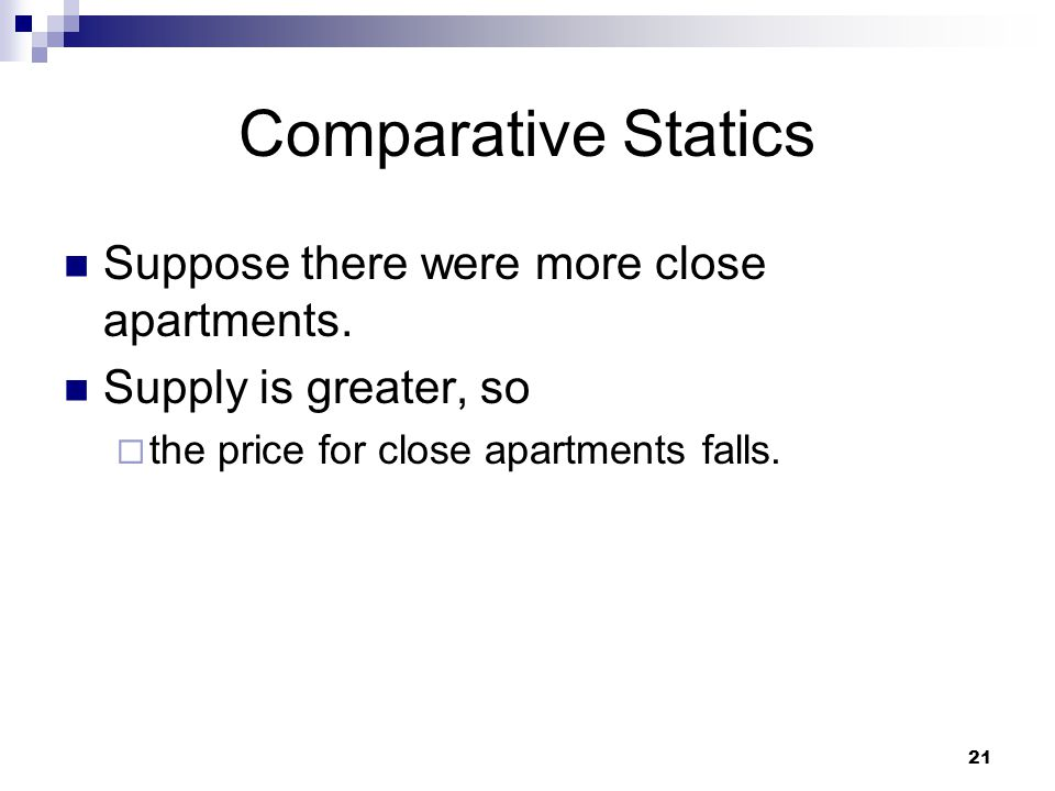 Comparative Statics Suppose there were more close apartments.