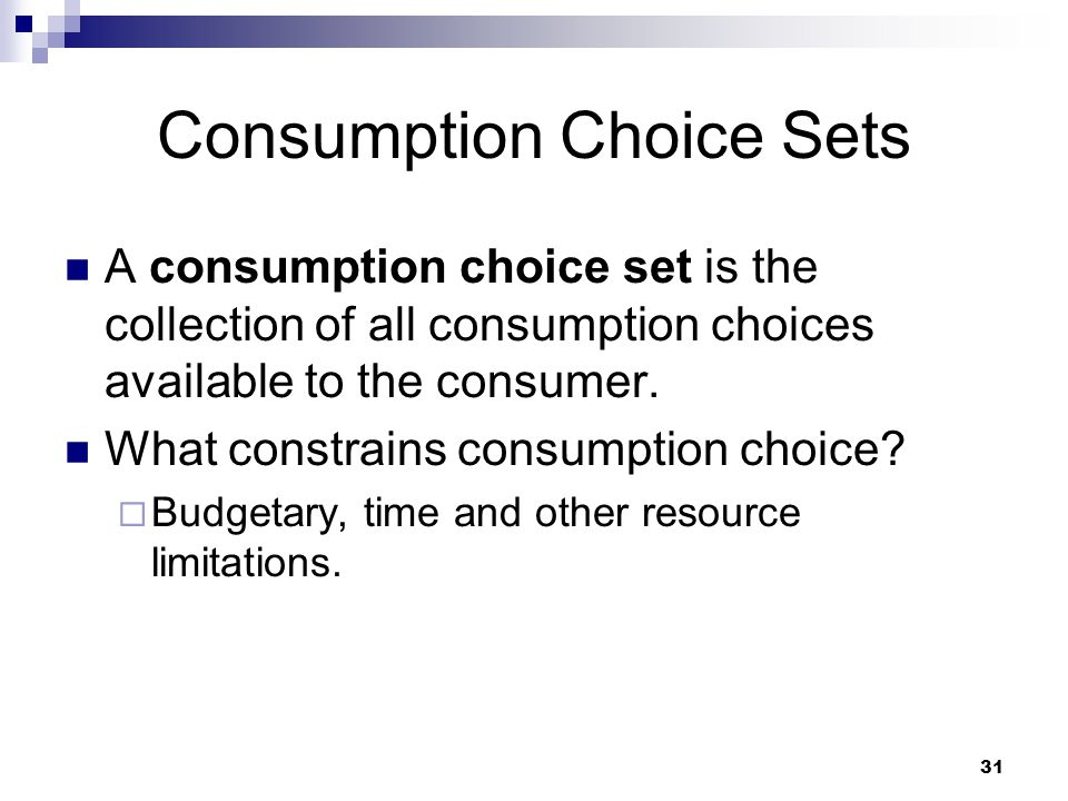 Consumption Choice Sets