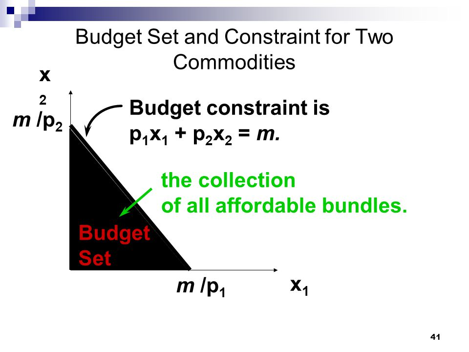 Budget Set and Constraint for Two Commodities